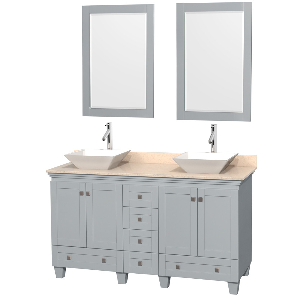 Wyndham WCV800060DOYIVD2WM24 Acclaim Two Sink Vanity in Oyster Gray with Ivory Marble