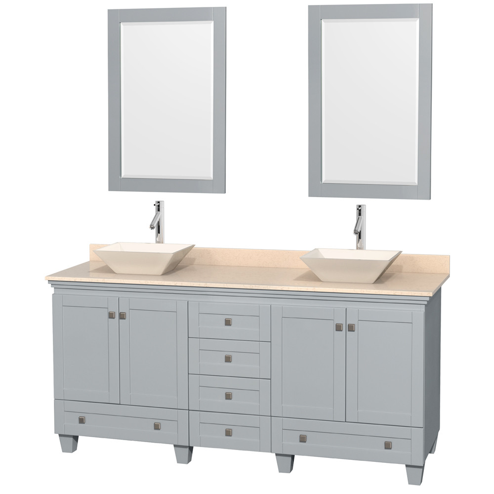Wyndham WCV800072DOYIVD2BM24 Wood Ivory Marble Top Vanity Set with Mirror in Oyster Gray