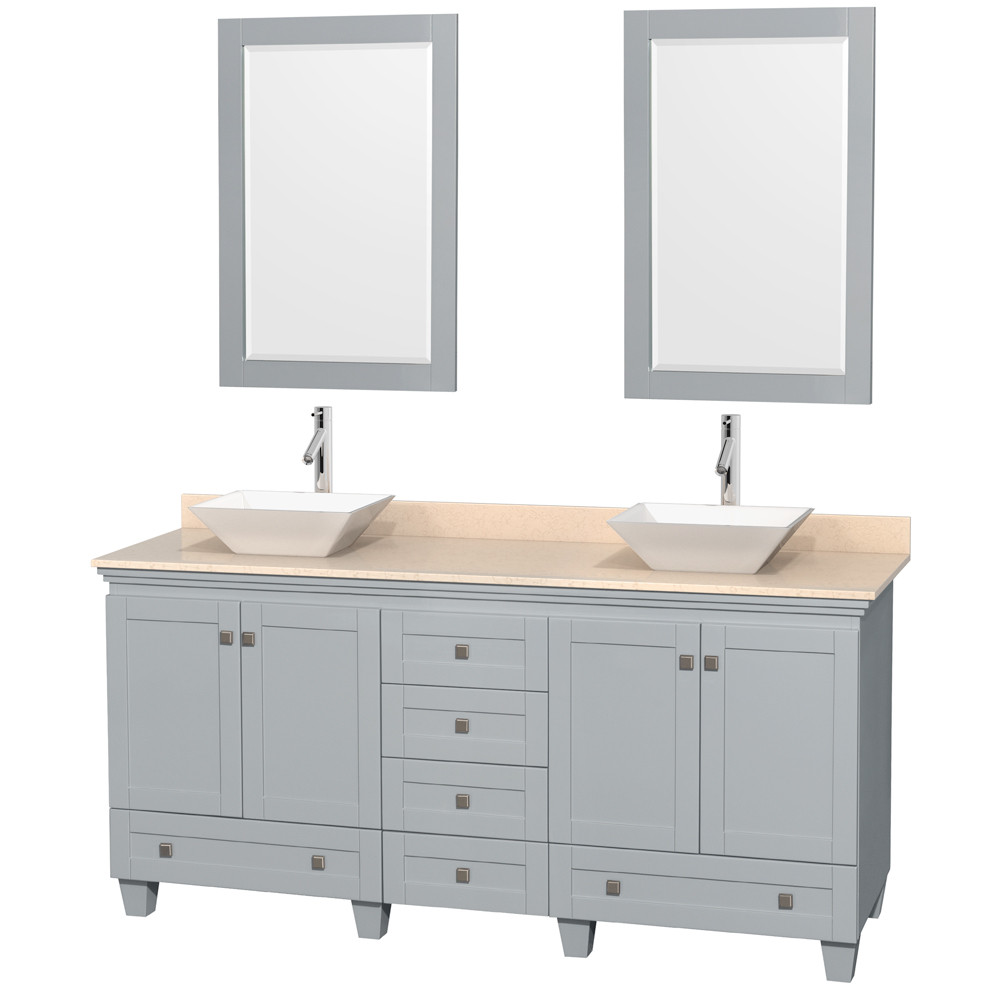 Wyndham WCV800072DOYIVD2WM24 Ivory Marble Top Vanity Set with Mirror in Oyster Gray