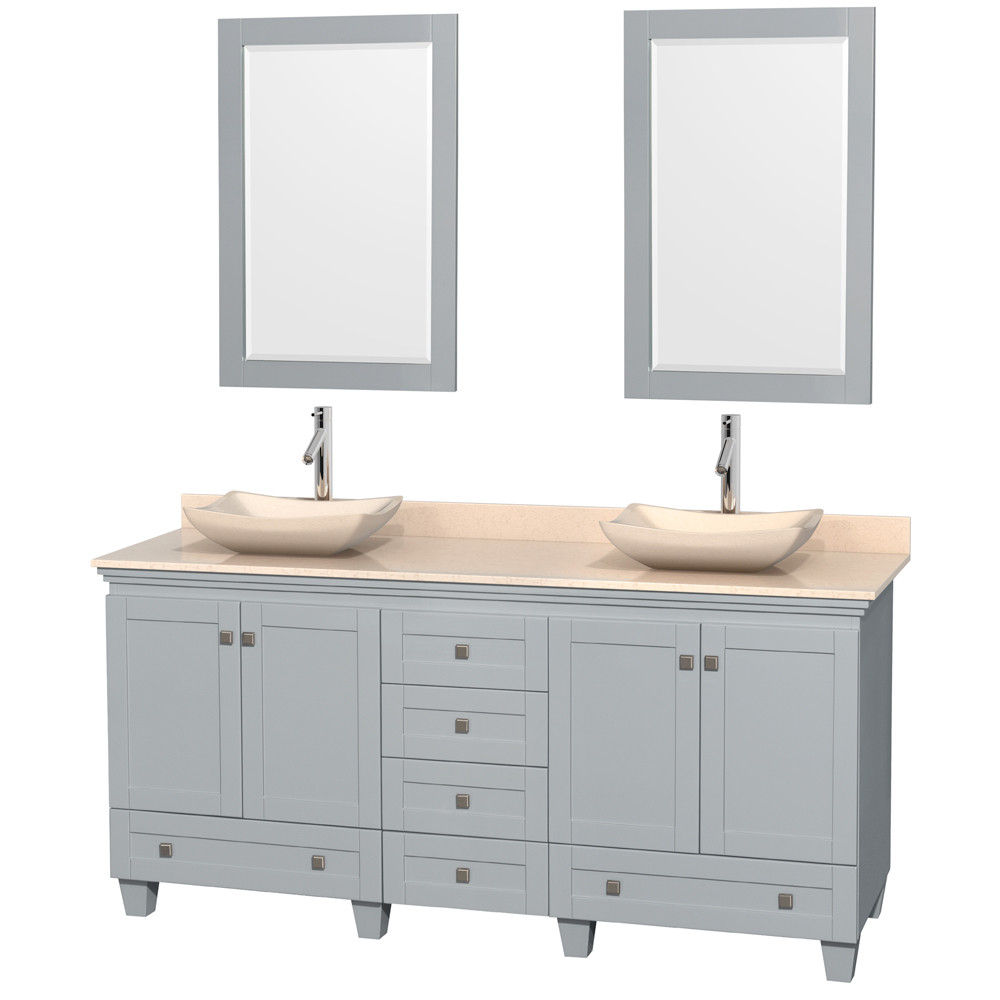 Wyndham WCV800072DOYIVGS2M24 Vanity in Oyster Gray with Ivory Marble Top & Mirrors