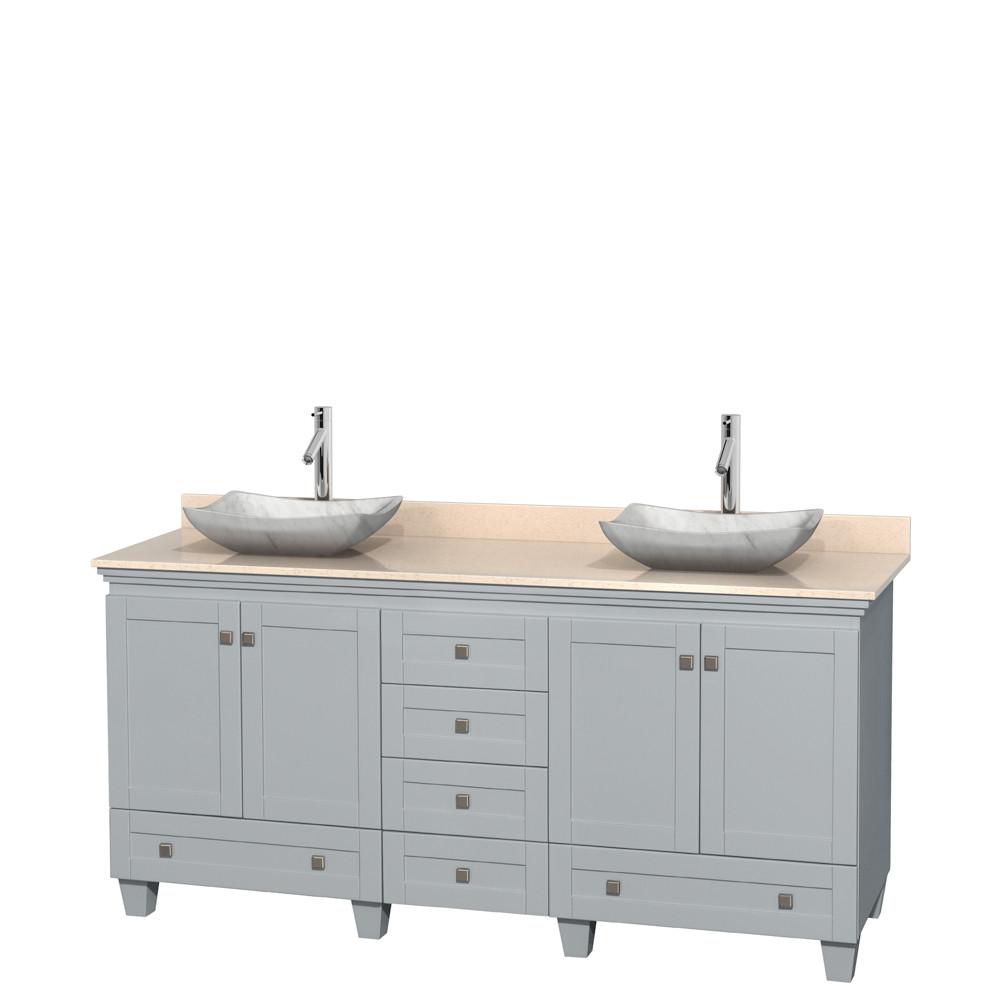 Wyndham WCV800072DOYIVGS3MXX Acclaim Ivory Marble Top Bathroom Vanity in Oyster Gray