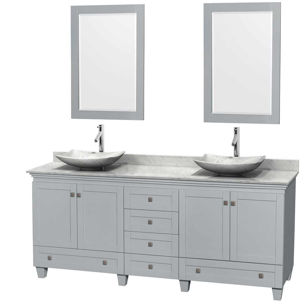 Wyndham WCV800080DOYCMGS6M24 Acclaim Double Sink Vanity with White Carrera Marble Top