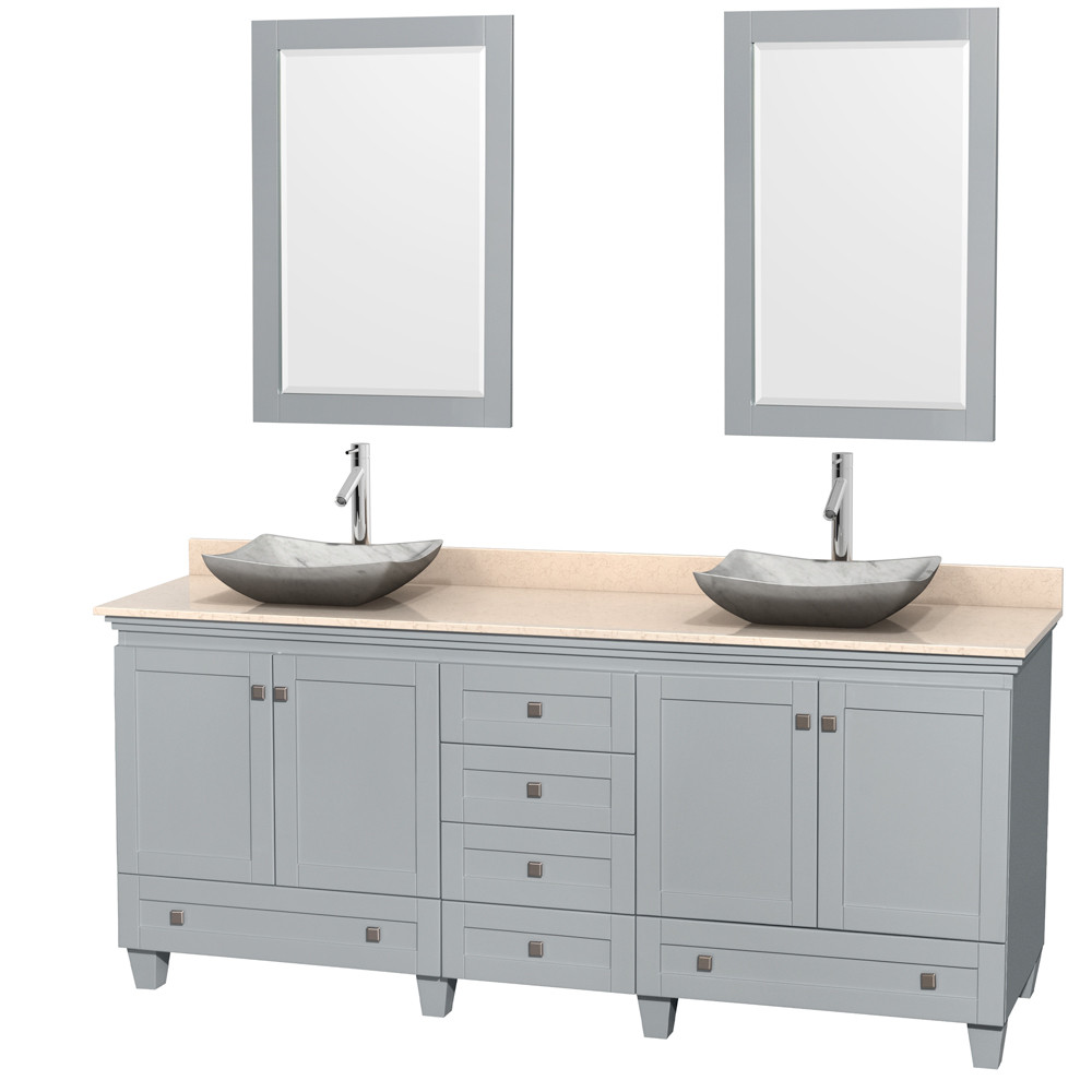 Wyndham WCV800080DOYIVGS3M24 Acclaim Bathroom Vanity with Mirrors in Oyster Gray