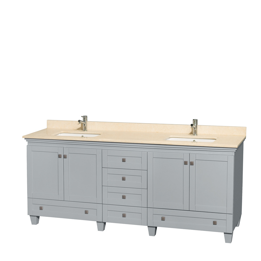 Wyndham WCV800080DOYIVUNSMXX Double Bathroom Vanity with Ivory Marble Top