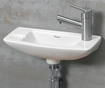 Whitehaus WH1-103 Small Porcelain Wall Mounted Ceramic Bathroom Basin Sink