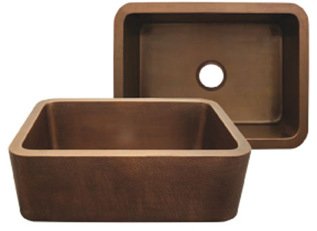 Whitehaus WH2519COFC Smooth Copper Front Apron Single Bowl Kitchen Sink