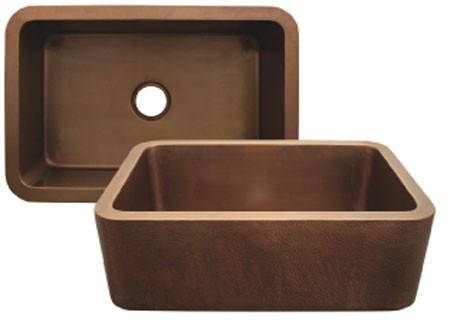 Whitehaus WH3020COFC Smooth Copper Single Bowl Front Apron Kitchen Sink