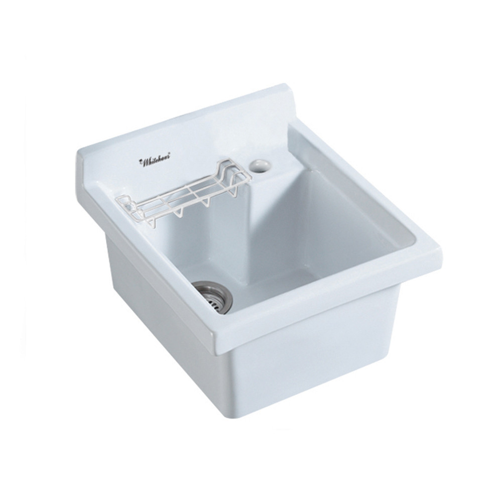Whitehaus WH474-53 Vitreous China Drop-in Sink with Wire Basket and Off Center Drain
