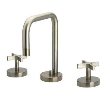 Whitehaus WH83214 Widespread Deck Mount Modern Cross Handle Bathroom Faucet