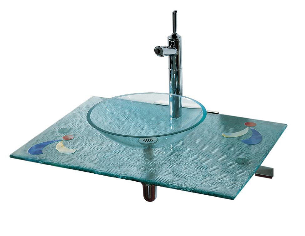Whitehaus WHCRFS-2B Blue/Transparent Glass Transparent Glass Fused Top With Colored Glass Details And Contact Basin