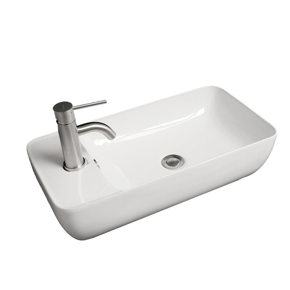 Whitehaus WHKN1015A Isabella Rectangular Above Mount Basin with Integrated Bowl and a Center Drain