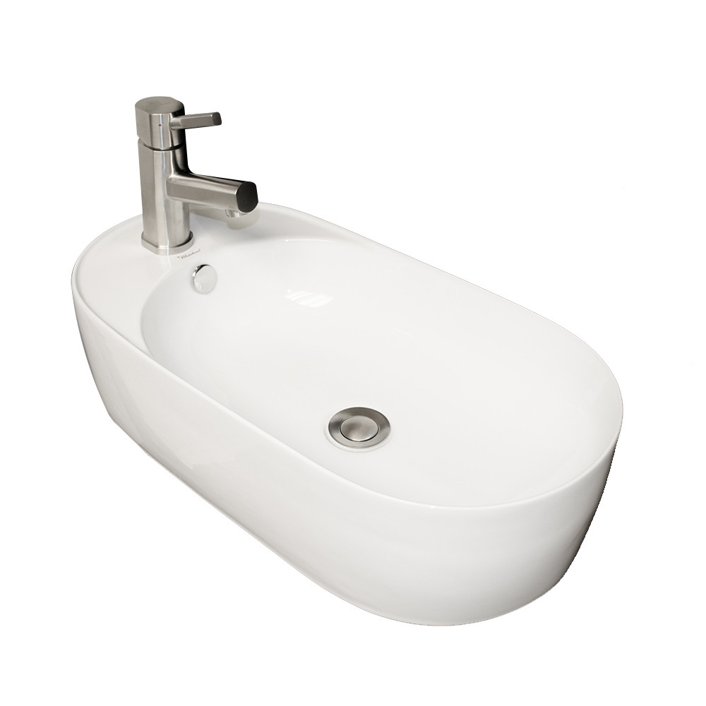 Whitehaus WHKN1016A Isabella Oval Above Mount Basin with Integrated Oval Bowl and a Center Drain