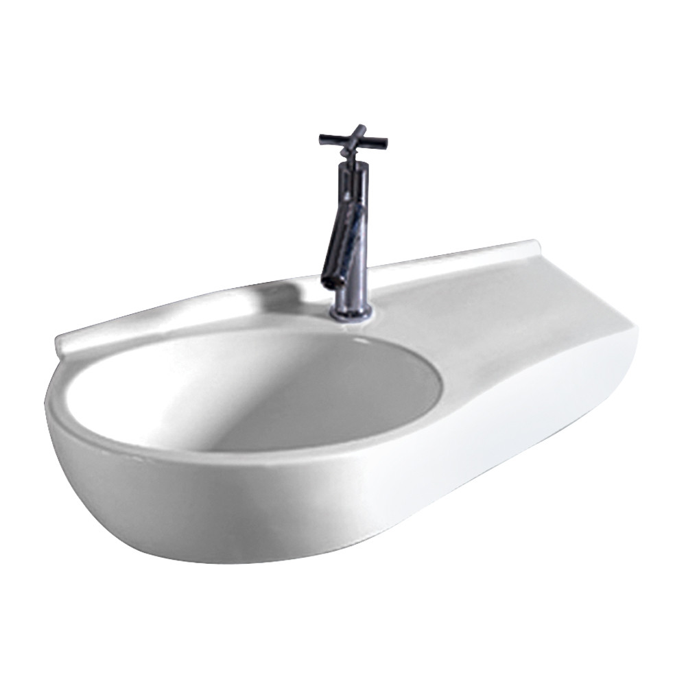 Whitehaus WHKN1120 Isabella Curved Shape Wall Mount Basin with Integrated Oval Bowl