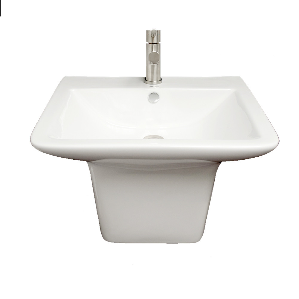 Whitehaus WHKN1148A Isabella Wall Mount Basin with Integrated Rectangular Bowl and a Center Drain