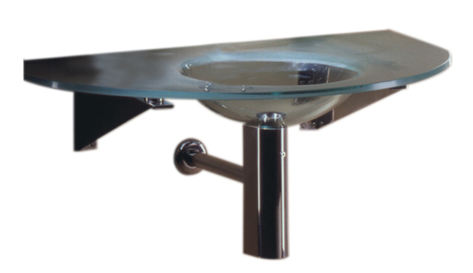 """Whitehaus WHLOOM-A Large Arched 1/2"""" Matte Glass Counter Top With Integrated Round Basin"""