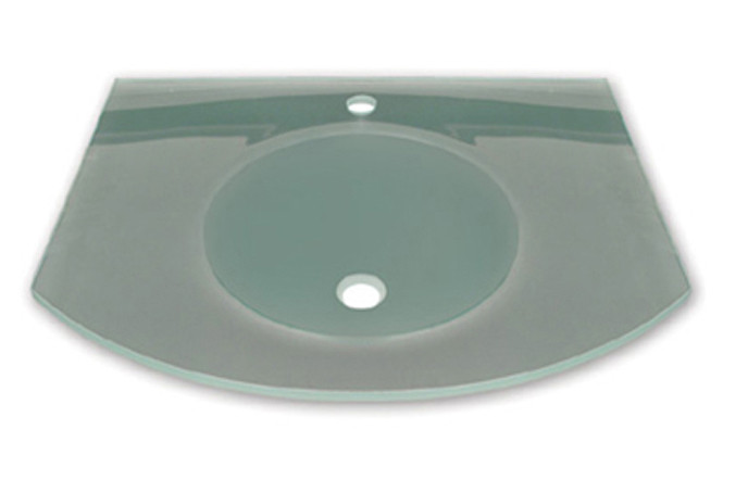 """Whitehaus WHLOOM-C Arched 1/2"""" Matte Glass Counter Top With Integrated Round Basin"""