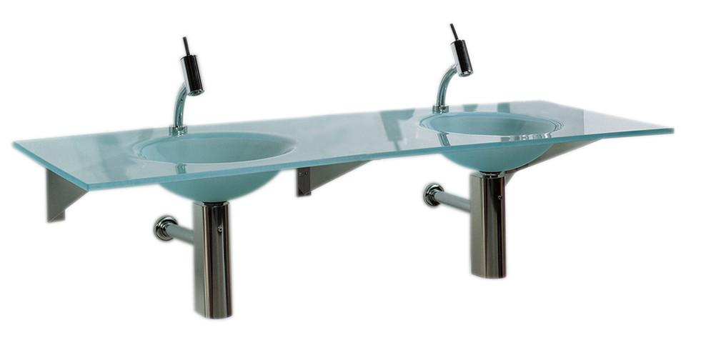 "Whitehaus WHLOOM-G Rectangular 1/2"" Matte Glass Counter Top With Double Integrated Round Basins"