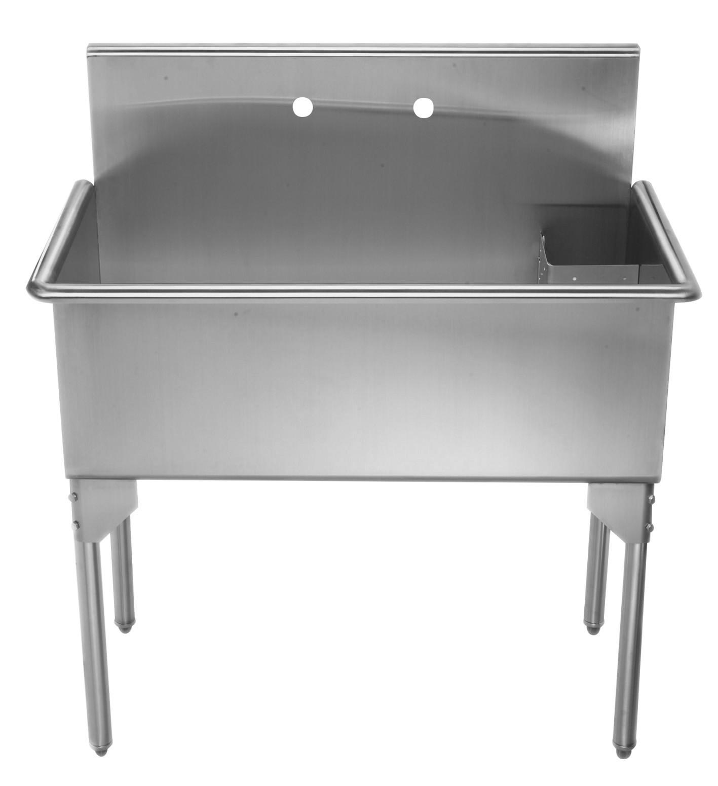 "Whitehaus WHLS3618-NP 36"" Brushed Stainless Steel Freestanding Utility Sink"