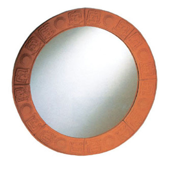 Whitehause WHLTC500 New Generation Large Round Mirror With Embossed Terra Cotta Border