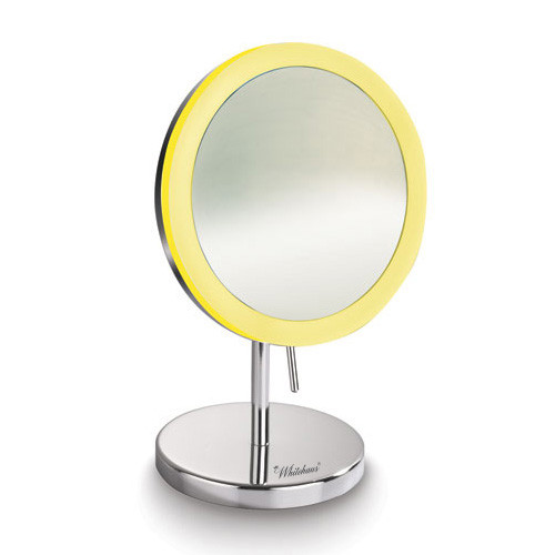 Whitehaus WHMR106-C Round Freestanding Led 5X Magnified Mirror - Polished Chrome