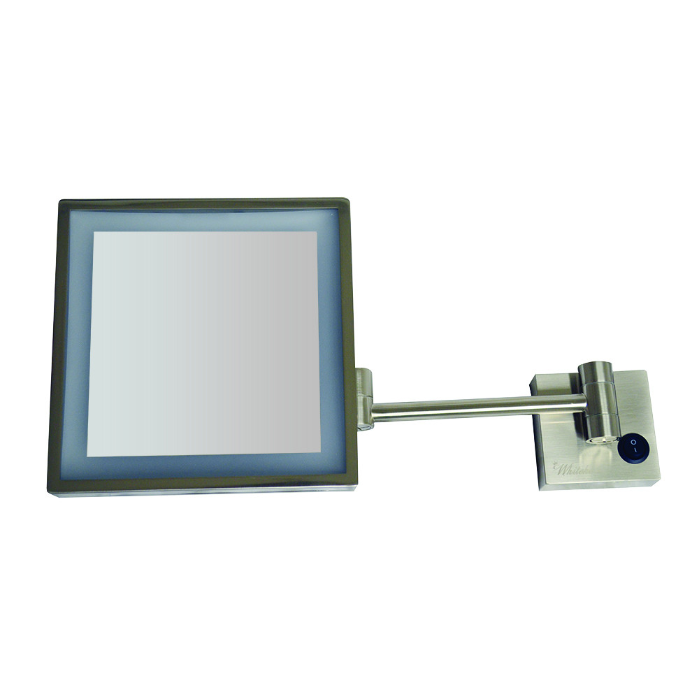 Whitehaus WHMR25-BN Square Wall Mount Led 5X Magnified Mirror