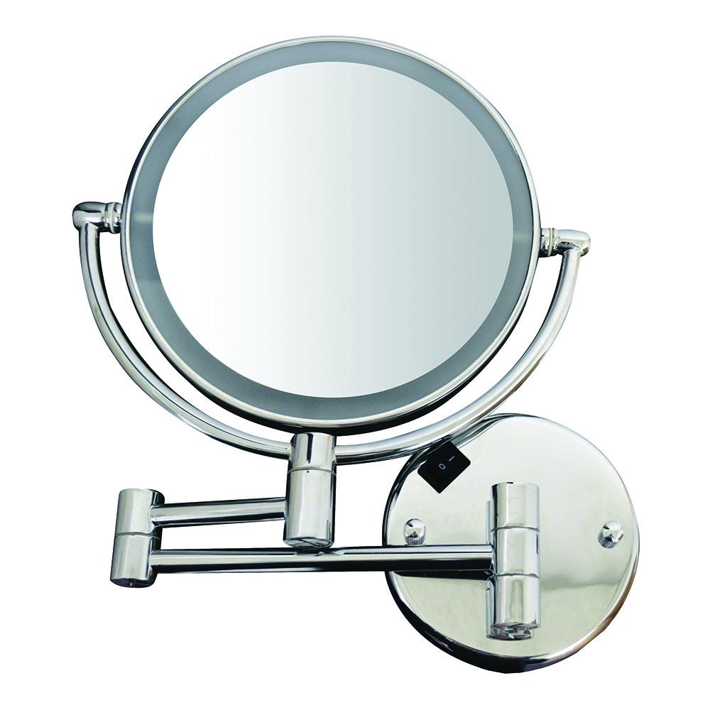 Whitehaus WHMR912-C Round Wall Mount Dual Led 7X Magnified Mirror