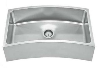 Whitehaus WHNAPCV3218 Stainless Steel 32'' Single Curve Apron Kitchen Sink
