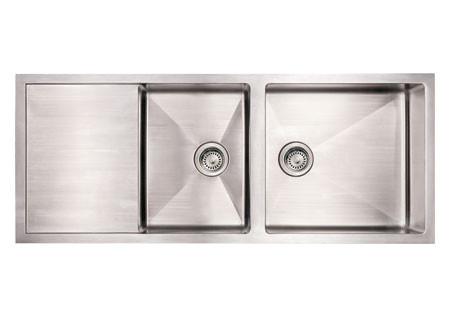 """Whitehaus WHNCMD5221 52"""" Stainless Steel Undermount Double Bowl Zero Radius"""