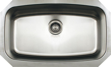 Whitehaus WHNCUS2917 Stainless Steel Single Bowl Undermount Kitchen Sink
