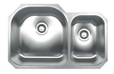Whitehaus WHNDBU3120 Stainless Steel 31'' Double Bowl Undermount Sink