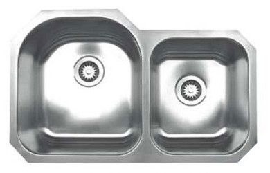 "Whitehaus WHNDBU3220 Stainless Steel 32"" Double Bowl Undermount Sink"