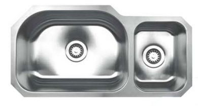 "Whitehaus WHNDBU3317 Stainless Steel 33"" Two Bowl Undermount Kitchen Sink"