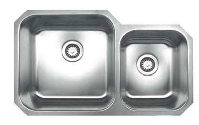 "Whitehaus WHNDBU3320 Stainless Steel 33"" Two Bowl Undermount Kitchen Sink"