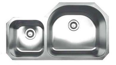 Whitehaus WHNDBU3721 Stainless Steel 37'' Double Bowl Undermount Sink