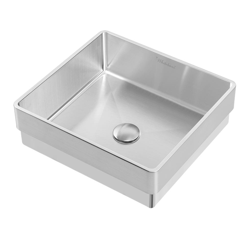 Whitehaus WHNPL1577-BSS Brushed Stainless Steel Semi-Recessed Kitchen Sink
