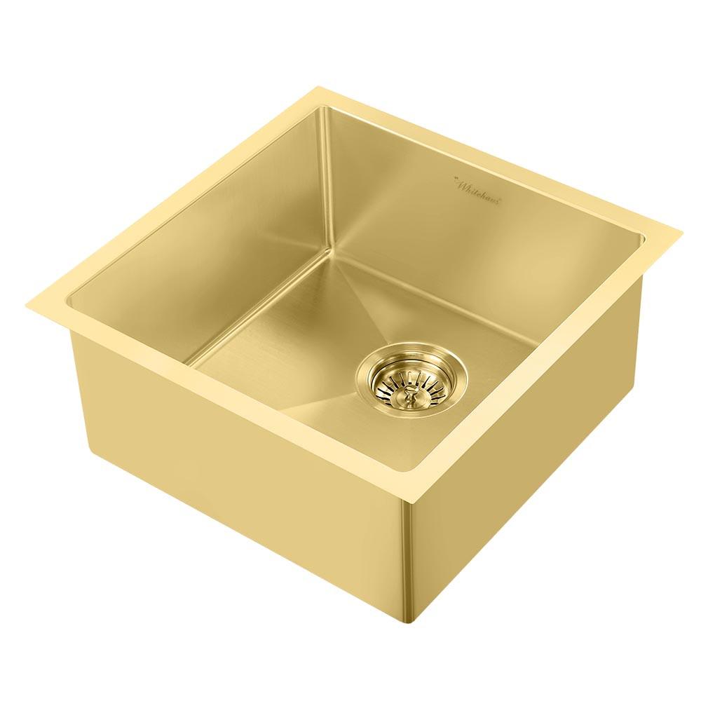 Whitehaus WHNPL1818-B Noah Plus Single Bowl Linen Textured Sink In Brass