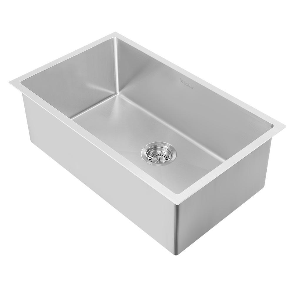Whitehaus WHNPL2718-BSS Noah Plus Heavy Duty Single Bowl Dual Mount Sink