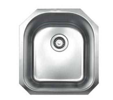 """Whitehaus WHNU1618 Stainless Steel 16"""" D-Bowl Undermount Kitchen Sink"""