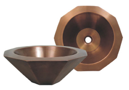Whitehaus WHOCTDWV16 Copper Single Bowl Above Mount Decagon Bathroom Basin
