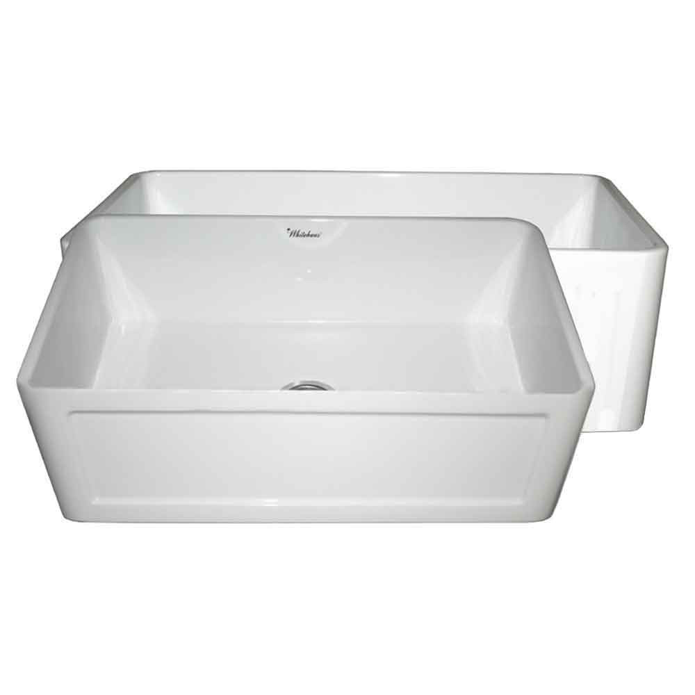 "Whitehaus WHPLCON2719-WHITE Farmhaus Fireclay Reversible 27"" Sink with Front Apron"