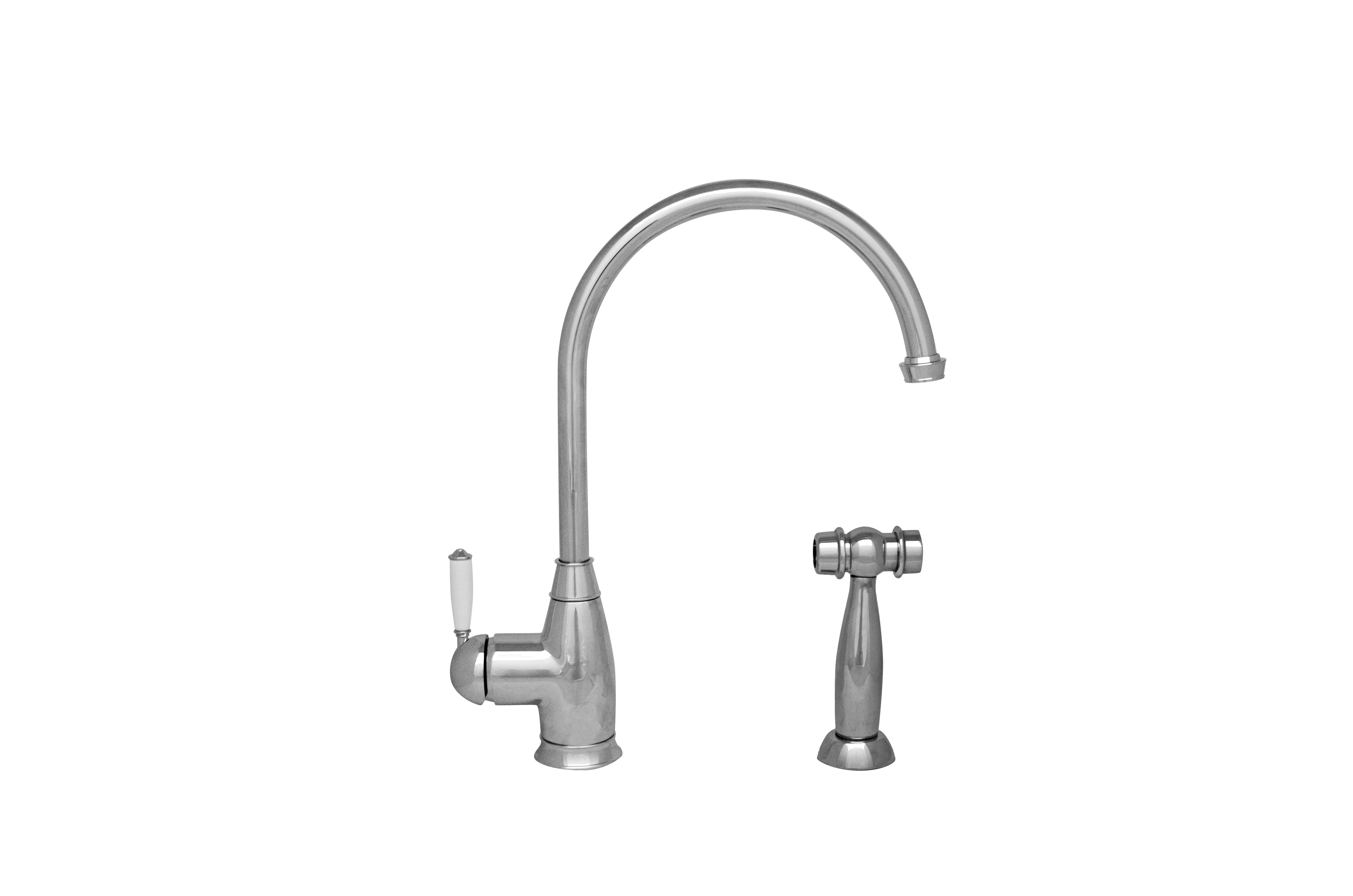 Whitehaus WHQNP-34682-C Queenhaus Single Lever Faucet with Side Spray in Polished Chrome