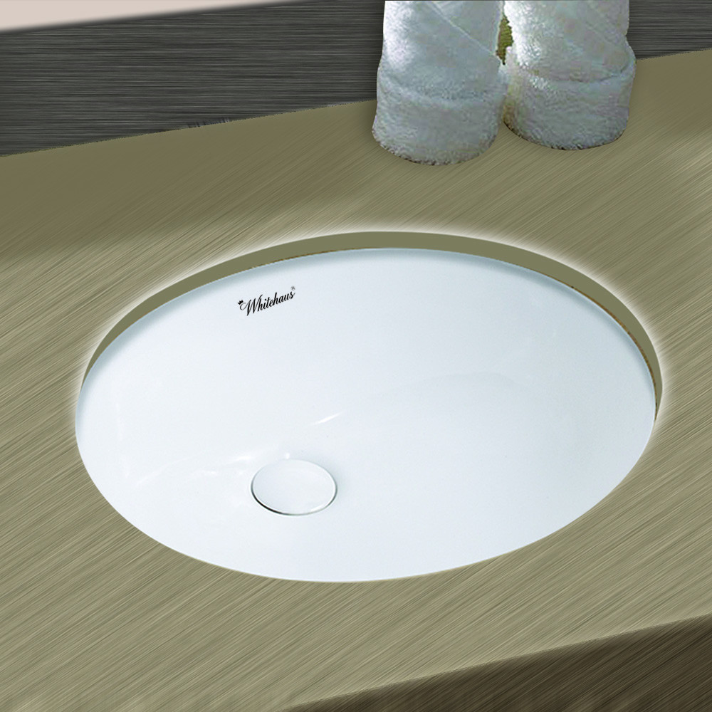 Whitehaus WHU71001 16 inch Oval Undermount Basin With Overflow And Rear Center Drain