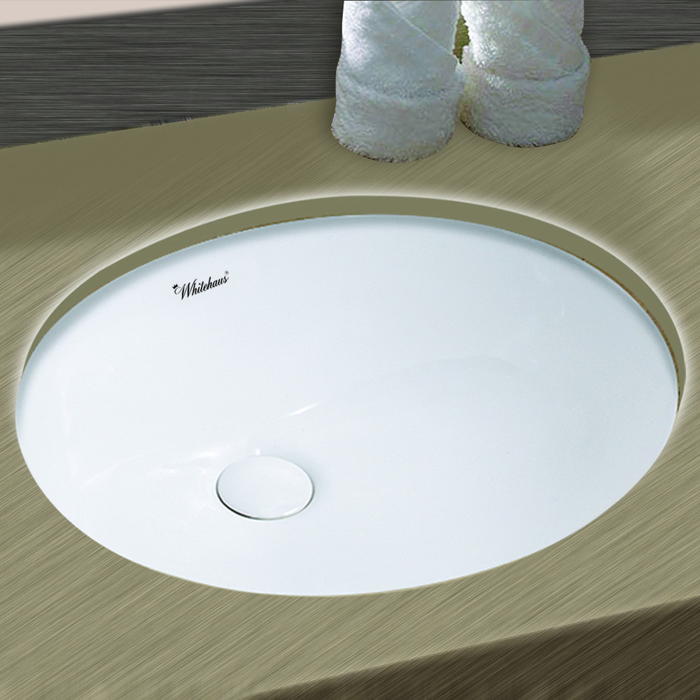 Whitehaus WHU71003 18 Inch Oval Undermount Basin With Overflow And Rear Center Drain