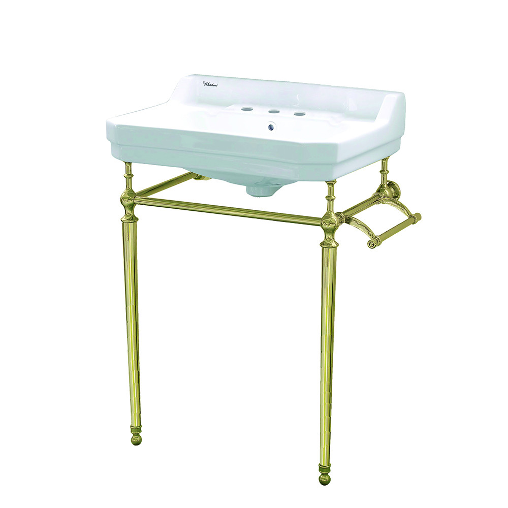Whitehaus WHV024-L33-3H-B Three Holes Console Sink With Polished Brass Leg