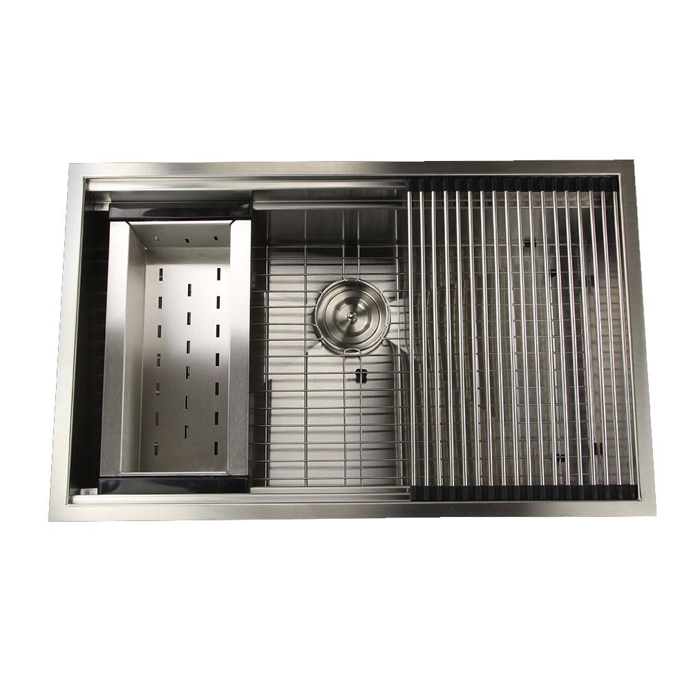 Nantucket Sinks ZR-PS-3220-16 Pro Series Kitchen Sink With Rolling Mat, Grid, Colander, & Drain