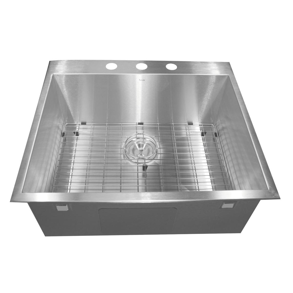 """Nantucket ZR2522-16 25"""" Stainless Steel Single Bowl Drop in Sink"""