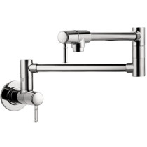 Pot Filler Faucet Wall Mounted with Metal Lever Handles In Polished Chrome