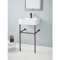 Cheviot 1230-19-WH-1-575-AB White Nuovella Lavatory Sink with Antique Bronze Console