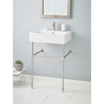 Cheviot 1230-23-WH-1-575-BN Nuovella White Lavatory Sink with Brushed Nickel Console