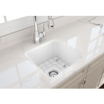 BOCCHI 1359-001-0120 White Fireclay Kitchen Sink with Grid and Strainer